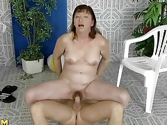 This older woman was looking for a swim, but a better exercise to loosen you up is riding a cock, which is exactly what she's doing. She slides down every inch of her man's dick, loving the feeling of being fucked. She gets off to ride him normally, and he thrusts up hard and fast in her hairy cunt.